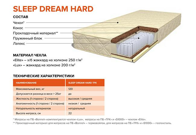Матрас DreamLine SleepDream Hard TFK